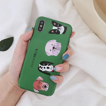 【M817】★ iPhone 6 / 6s / 6Plus / 6sPlus / 7 / 7Plus / 8 / 8Plus / X ★ シェルカバー ケース Dogs in Green