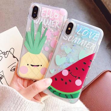 【M506】♡ iPhone 6 / 6s /6Plus / 6sPlus / 7 / 7Plus / 8 / 8Plus / X ♡ シェルカバー  iPhone ケース 流れる パイナップルスイカ