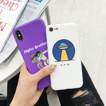 【M844】★ iPhone 6 / 6s / 6Plus / 6sPlus / 7 / 7Plus / 8 / 8Plus / X ★ シェルカバー ケース white and purple