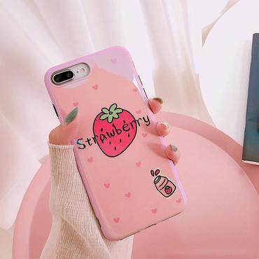 【M606】★ iPhone 6 / 6s / 6Plus / 6sPlus / 7 / 7Plus / 8 / 8Plus / X ★ シェルカバーケース  Strawberry Banana