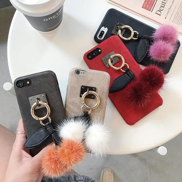 【M881】★ iPhone6 / 6Plus / 6s / 6sPlus / 7 / 7Plus/ 8 / 8Plus / X  ★Cheery Pompom Furball iPhone ケース