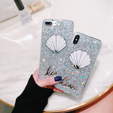 【M544】★ iPhone 6 / 6s / 6Plus / 6sPlus / 7 / 7Plus / 8 / 8Plus / X ★ キラキラShell Love iPhoneケース