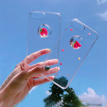 【M569】★ iPhone 6 / 6s / 6Plus / 6sPlus / 7 / 7Plus / 8 / 8Plus / X ★ シェルカバーケース グリッター 流れ動く果物