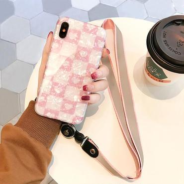 【M523】♡ iPhone 6 / 6s /6Plus / 6sPlus / 7 / 7Plus / 8 / 8Plus / X ♡ シェルカバー ケース ハートチェックストラップ