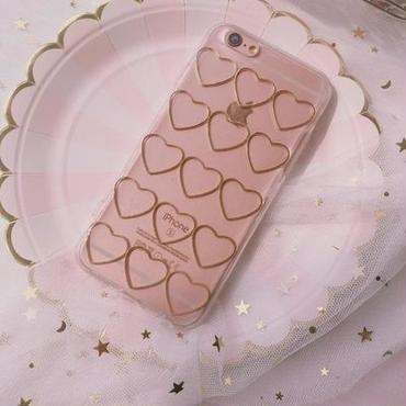 【M327】★ iPhone6 / 6Plus /6s /6sPlus /7/ 7Plus/ 8 / 8Plus /X ★ Many hearts iPhone Case ケース ハート可愛い