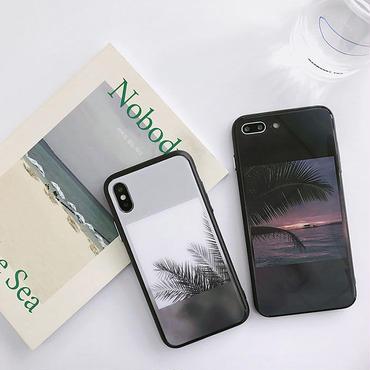 【M324】★ iPhone6 / 6Plus / 6s / 6sPlus / 7 / 7Plus/ 8 / 8Plus /X ★  iPhone Case ケース サンセット ヤシの木 お洒落