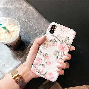 【M854】★ iPhone 6 / 6s / 6Plus / 6sPlus / 7 / 7Plus / 8 / 8Plus / X ★ シェルカバー ケース  Flower Shell Case