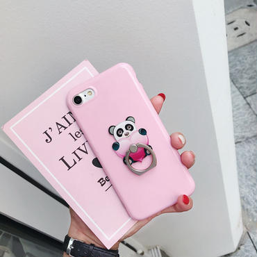 【M872】★ iPhone 6 / 6s / 6Plus / 6sPlus / 7 / 7Plus / 8 / 8Plus / X ★ シェルカバー ケース Panda In Pink