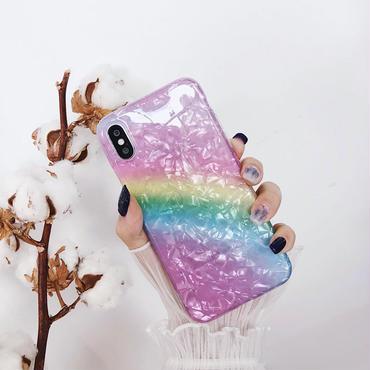 【M443】★ iPhone 6 / 6s /6Plus / 6sPlus / 7 / 7Plus / 8 / 8Plus / X ★ レインボーシェル iphone ケース 古着 Rainbow