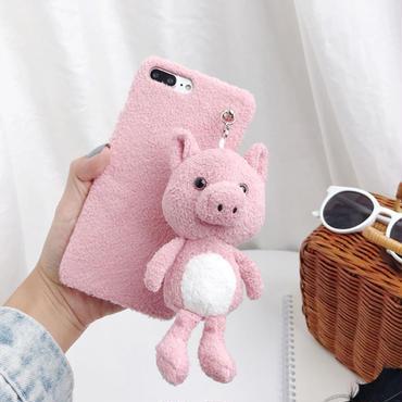 【M213】★ iPhone 6 / 6s / 6Plus / 6sPlus / 7 / 7Plus / 8 / 8Plus / X /XS/Xs max★ シェルカバーケース  Fur Pig