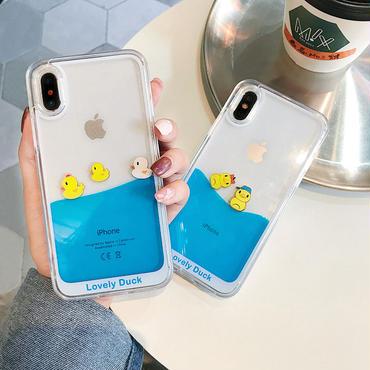 【M541】♡ iPhone 6 / 6s / 6Plus / 6sPlus / 7 / 7Plus / 8 / 8Plus / X ♡ シェルカバー ケース 流れて動く グリッター 小鸭子