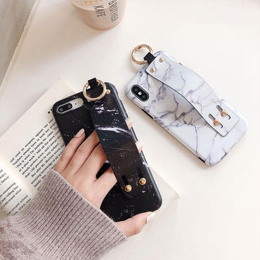【M136】★ iPhone 6  / 6sPlus / 7 / 7Plus / 8 / 8Plus / X /XS/Xs max★ シェルカバーケース  Marble ベルト付き
