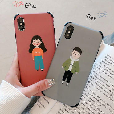 【N148】★ iPhone 6 / 6s / 6Plus / 6sPlus / 7 / 7Plus / 8 / 8Plus / X/XS ★ シェルカバー ケース Girl and Boy