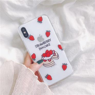 【M536】♡ iPhone 6 / 6s /6Plus / 6sPlus / 7 / 7Plus / 8 / 8Plus / X ♡ シェルカバー ケース クリアイチゴケーキ 可愛い