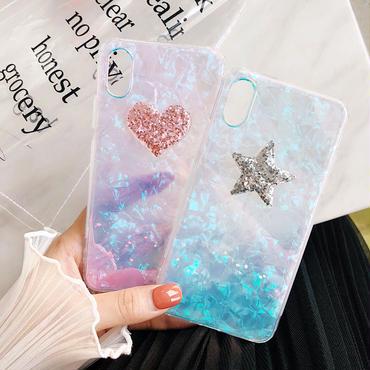 【M407】★ iPhone 7 / 7Plus / 8 / 8Plus / X ★ シェルカバー ケース クリア ハートSTAR/HEART