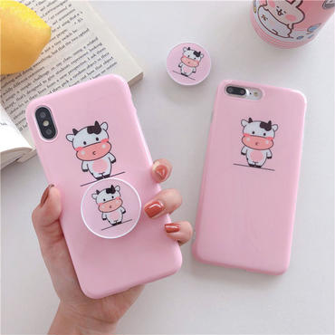 【M847】★ iPhone 6 / 6s / 6Plus / 6sPlus / 7 / 7Plus / 8 / 8Plus / X ★ シェルカバー ケース 乳牛🐄 in pink
