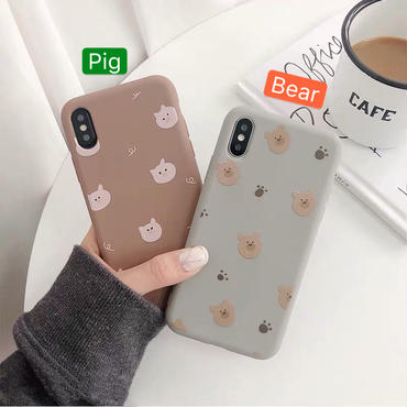 【N159】★ iPhone 6 / 6sPlus / 7 / 7Plus / 8 / 8Plus / X/XS / Xr /Xsmax ★ シェルカバー ケース Bear or Piggy