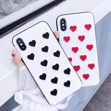 [M312] ★iPhone 6 / 6s / 6Plus / 6sPlus / 7 / 7Plus / 8 / 8Plus / X ★Embroidery iPhone ケース 刺繍 ハート可愛い