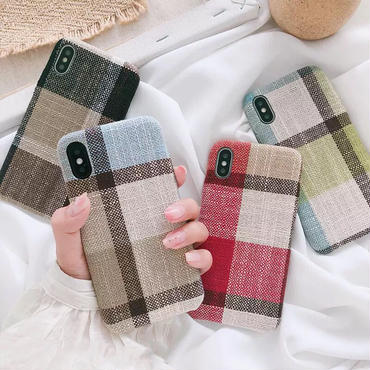【M877】★ iPhone6 / 6Plus / 6s / 6sPlus / 7 / 7Plus/ 8 / 8Plus / X  ★Fabric Check iPhoneケース