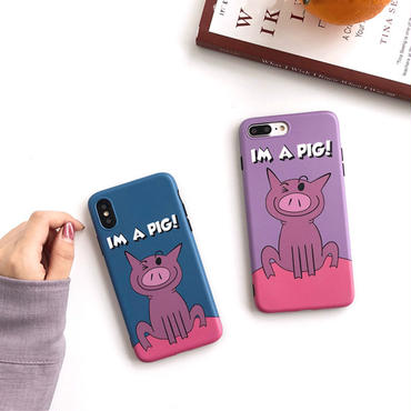 【M540】♡ iPhone 6 / 6s / 6Plus / 6sPlus / 7 / 7Plus / 8 / 8Plus / X ♡ シェルカバー ケース iPhone Case IM A PIG