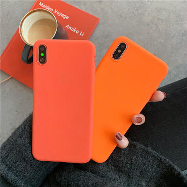 【N154】★ iPhone 6 / 6sPlus / 7 / 7Plus / 8 / 8Plus / X/ XS / Xr /Xsmax ★ シェルカバース Orange Orange