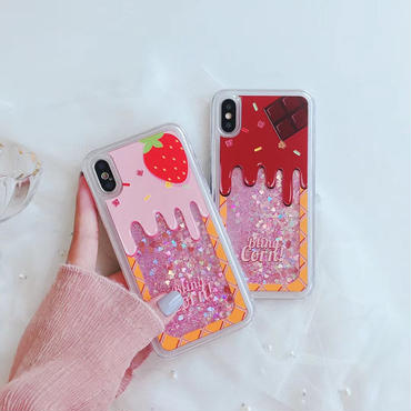 【M559】★ iPhone 6 / 6s / 6Plus / 6sPlus / 7 / 7Plus / 8 / 8Plus / X ★ シェルカバー ケース グリッター イチゴ