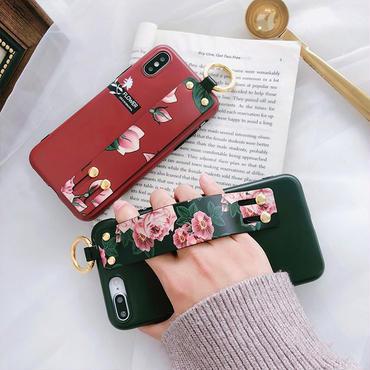 【M216】★ iPhone 6  / 6sPlus / 7 / 7Plus / 8 / 8Plus / X /XS/Xs max★ シェルカバーケース  Flower ベルト付き