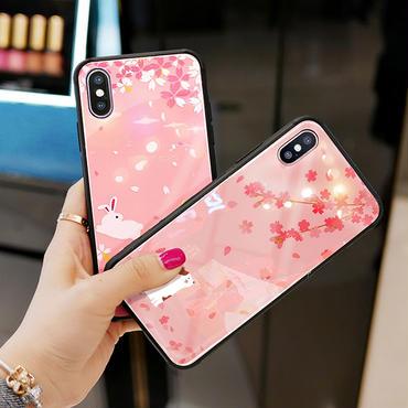 【M335】★ iPhone 6 / 6s / 6Plus / 6sPlus / 7 / 7Plus / 8 / 8Plus / X ★ SAKURA iPhone ケース ネコ ウサギ ピンク桜