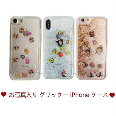 お写真入り グリッター ケース♡Custom Liquid iPhone Case◆オリジナル