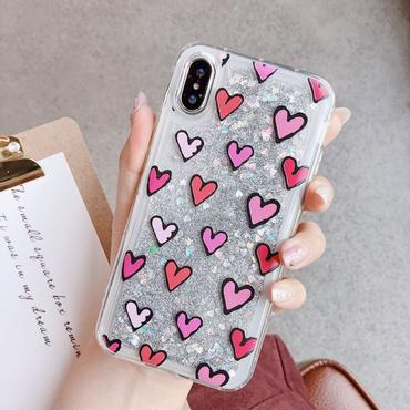 【M549】★ iPhone 6 / 6s / 6Plus / 6sPlus / 7 / 7Plus / 8 / 8Plus / X ★ キラキラ ハート グリッター iPhoneケース 流れ動く