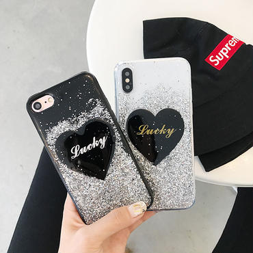 【M818】★ iPhone 6 / 6s / 6Plus / 6sPlus / 7 / 7Plus / 8 / 8Plus / X ★ シェルカバーケース Lovely Glitter Heart