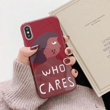 【N100】★ iPhone 6 / 6sPlus / 7 / 7Plus / 8 / 8Plus / X/ XS / Xr /Xsmax ★ シェルカバー ケース Who Cares