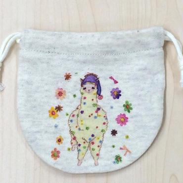 巾着(小) おねむりアルパカ_KTS-Y091