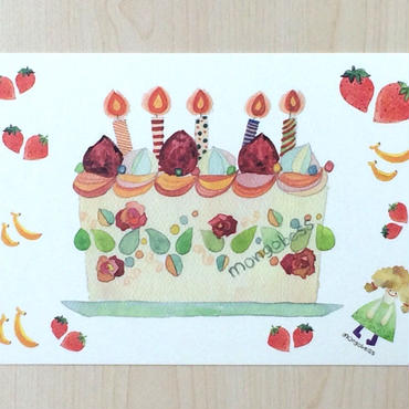 ポストカード〈バラ売り〉 いちごケーキ_PC-Y072
