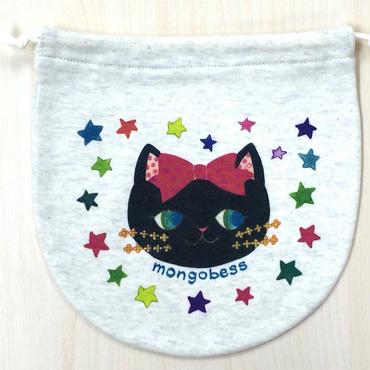 [送料無料] 巾着(大) リボン黒猫_KTL-Y138