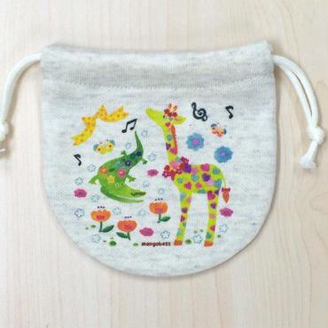 巾着(小) ワニとキリン_KTS-Y189