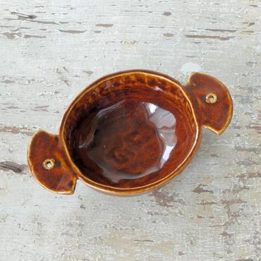 mouhitoaji 茶色い耳つきスープ皿