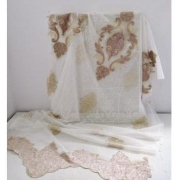 アラベスクモチーフ・刺繍カーテン生地「ロマネスク・ローズ」276×93cm一点限り