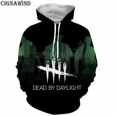 デッド バイ デイライト(Dead By Daylight) パーカー フード ジップアップ スウェット 3Dプリント ユニセックス グリーン×ブラック