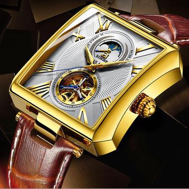 BINGER メンズ 腕時計 革 高級 デザイン 海外 人気 ビジネス サファイアクリスタル ラグジュアリー