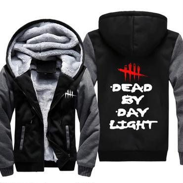 デッド バイ デイライト(Dead By Daylight) パーカー フリース ロゴ ブラック×グレー