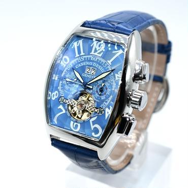 caseno 自動巻き 機械式腕時計 クロノグラフ メンズ 革バンド シルバー トゥールビヨン
