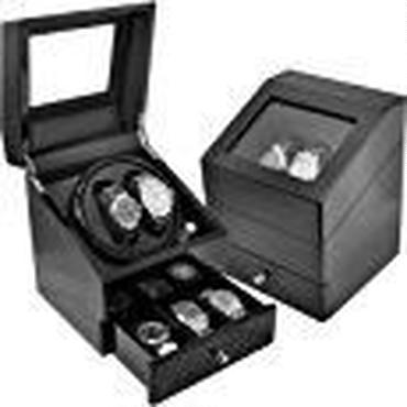 高級ワインディングマシーン 4本巻き+時計収納ボックス ブラック×アイボリー 自動巻き時計の指定席 回転台座