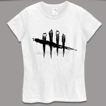 デッド バイ デイライト(Dead By Daylight)  レディース Tシャツ 黒ロゴ ホワイト
