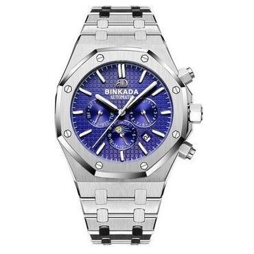 海外限定モデル★BINKADA海外高級ブランド輸入腕時計 ブルー機械式クロノグラフ コンプリートカレンダー機能 サファイアガラス