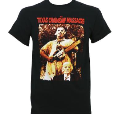 悪魔のいけにえ(TEXAS CHAINSAW MASSACRE)本格的 LeatherfaceとおじいちゃんTシャツT-3XL新しいスリーブTシャツファッショントップtシャツプラスサイズ