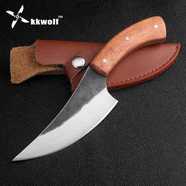 Kkwolf高炭素鋼固定狩猟ナイフ牛肉豚肉ナイフ58hrcローズウッドハンドルsharpサバイバルキャンプ戦術レスキューナイフ