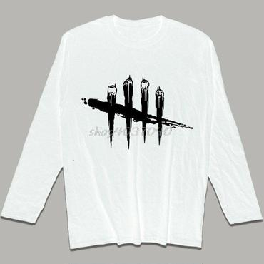 デッド バイ デイライト(Dead By Daylight) ロングTシャツ 黒ロゴ ホワイト