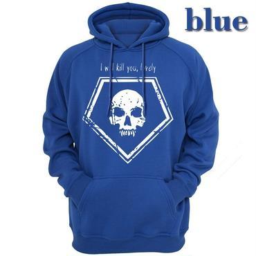 デッド バイ デイライト(Dead By Daylight)  パーカー フード ジップアップ スウェット I will kill you, lovely ブルー