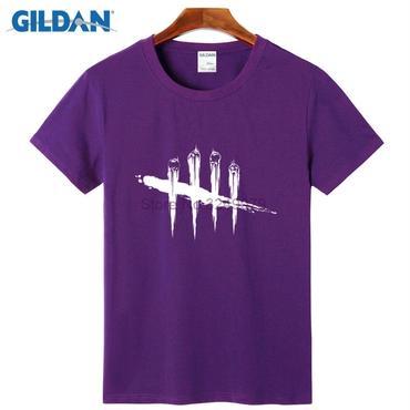 デッド バイ デイライト(Dead By Daylight)  Tシャツ ロゴ ホワイト 紫